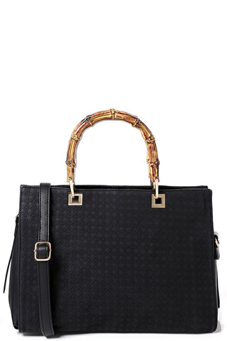 Textured Bone Handle Black Bag