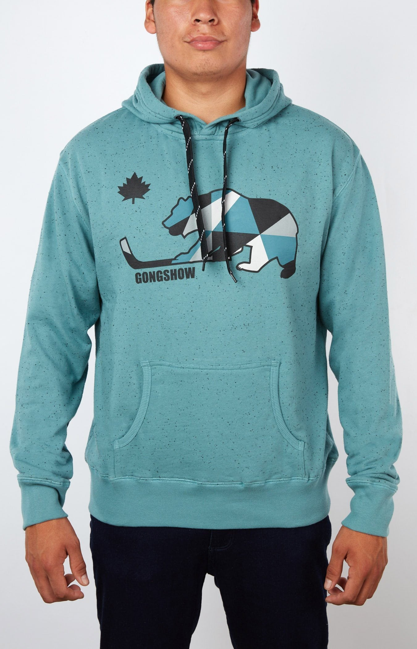 Steer Clear Teal Green Long Sleeve Hooded Sweatshirt Mens GONGSHOW Hockey  Hoody – GONGSHOW USA 08dcbddf51650