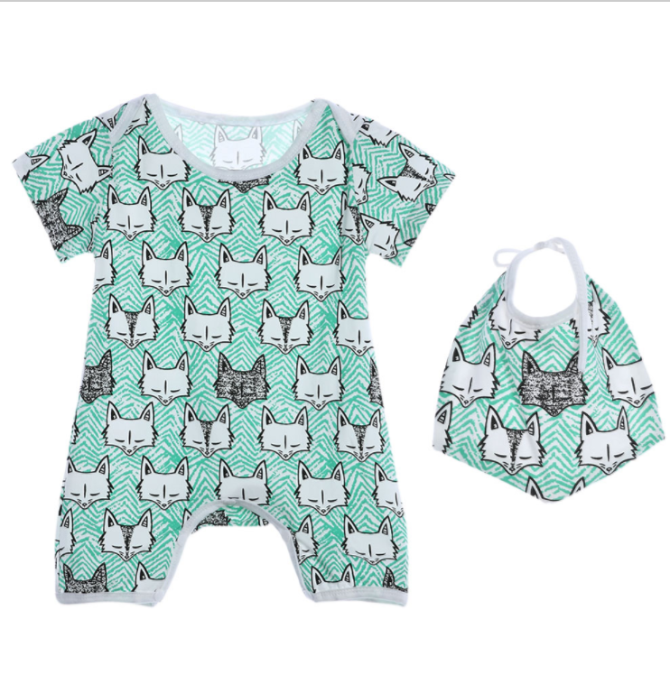 Neutral Baby 2 pc Green Fox printed Romper with bib