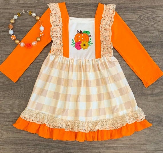 Ruffle Dress Pumpkin Crochet Apple