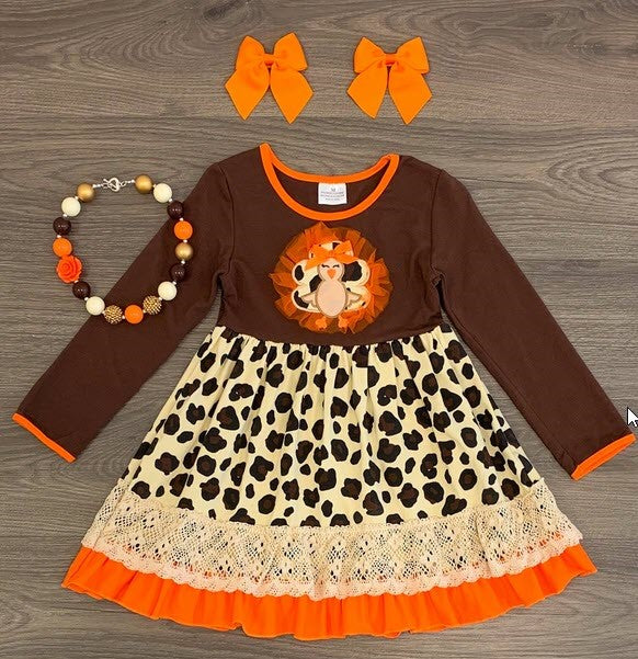 Cheetah Turkey Applique Dress