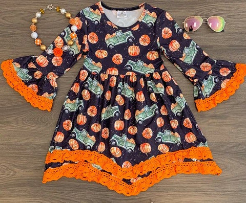 Pumpkin Truck Lace Bell Sleeve Dress