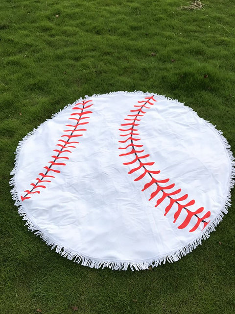 Baseball towel /Throw /Round Beach towel/Circle Towel