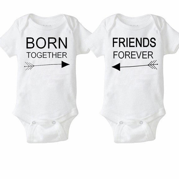 Twin rompers Set of 2 -Friends Forever