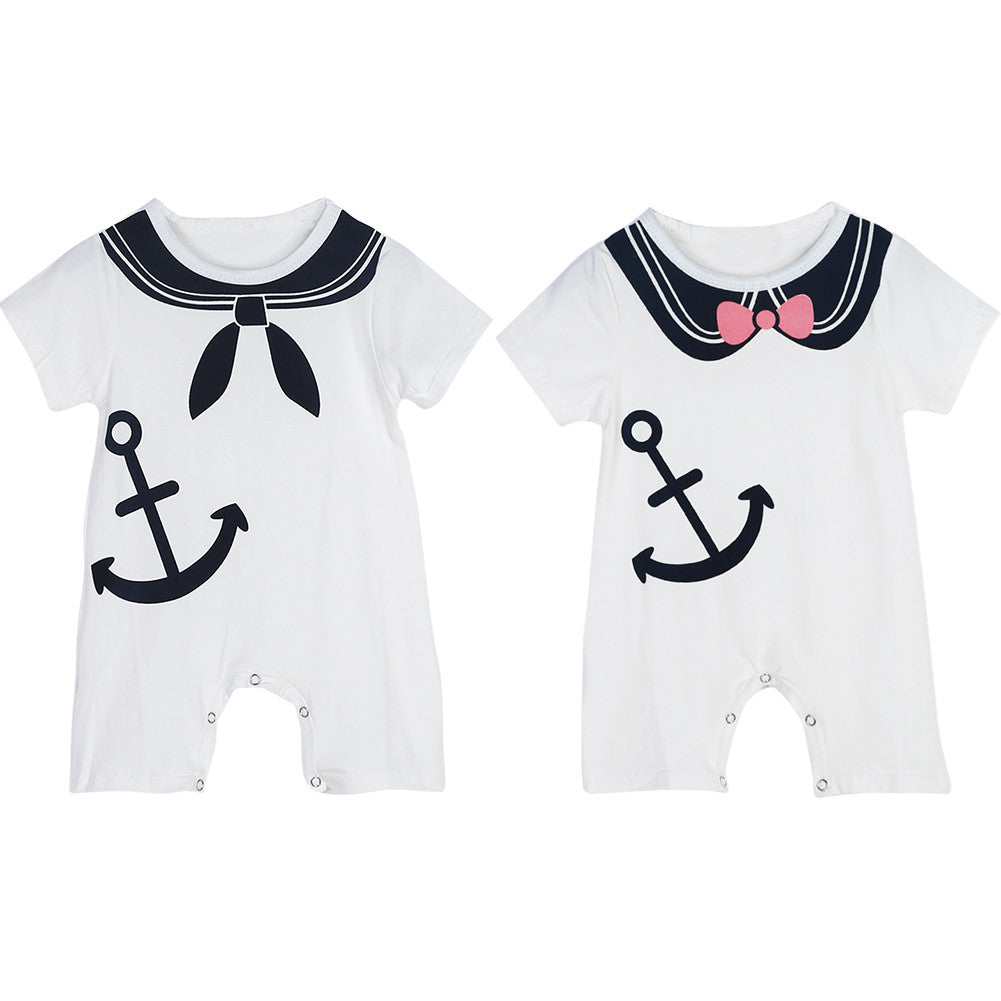 Twin Sailor romper Set