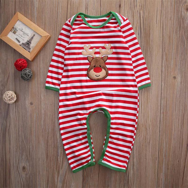 Christmas-Striped Romper