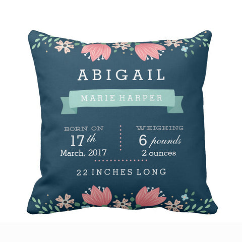Customized Cushion cover for Nursery-Floral garden Teal