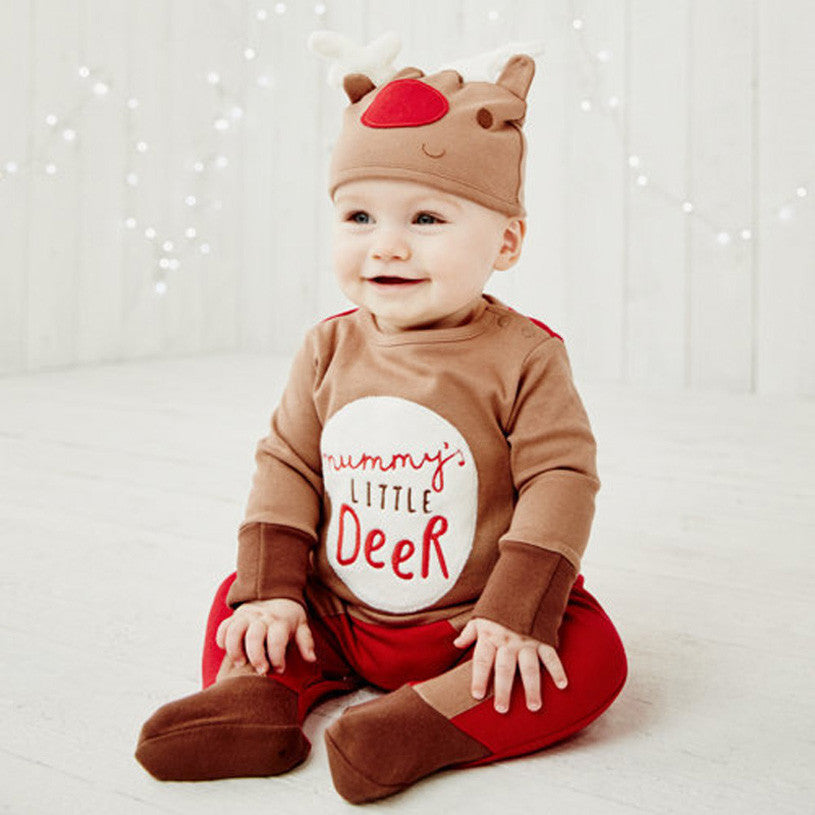 Christmas-Deer romper with Hat