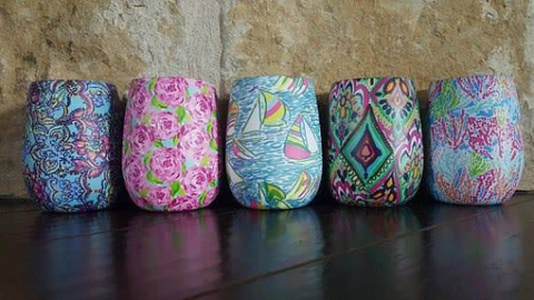 Lilly Pulitzer inspired stemless wine cups/tumblers stainless steel double walled