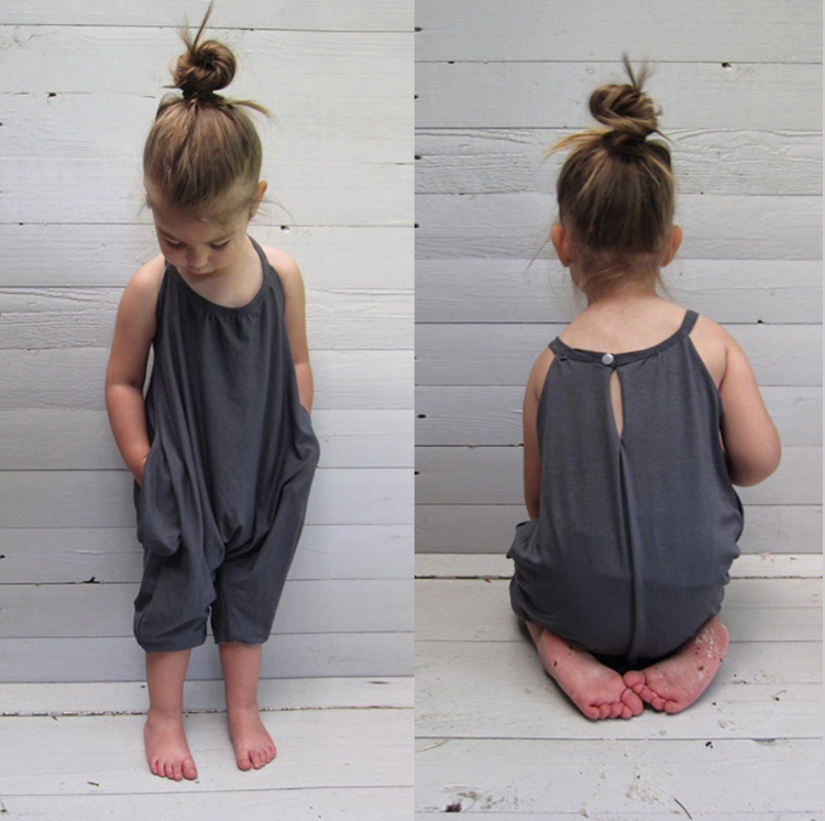 Girls Harem Jumpsuit in grey,blue and Pink