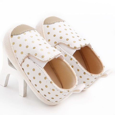 PU Leather Infant Toddler Polka Dots Crib shoes First Walkers