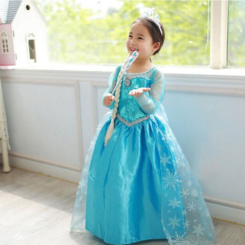 Anna Elsa Cosplay Costume Kid's Party Dress Baby Girls Clothes