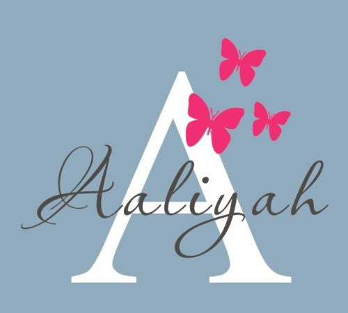 50X60cm Butterflies Personalized Name Wall Decal