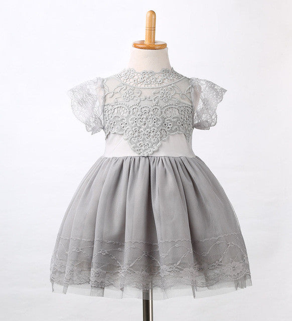 Girls Lace Gray Pink White Floral Tulle Tutu Party Dress