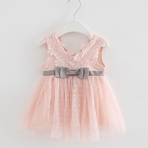 Girls Party Summer Bow lace dress