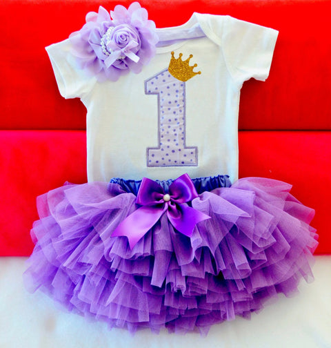 Baby Girl  1st Birthday Outfit Romper+Tutu Skirt+Flower Cap