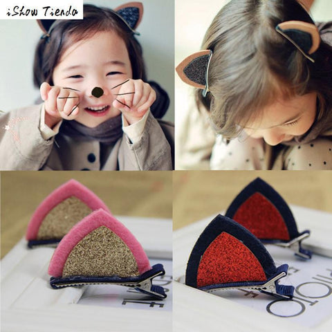 2Pcs / 1 Pair Lovely Cat Ears Hairclips
