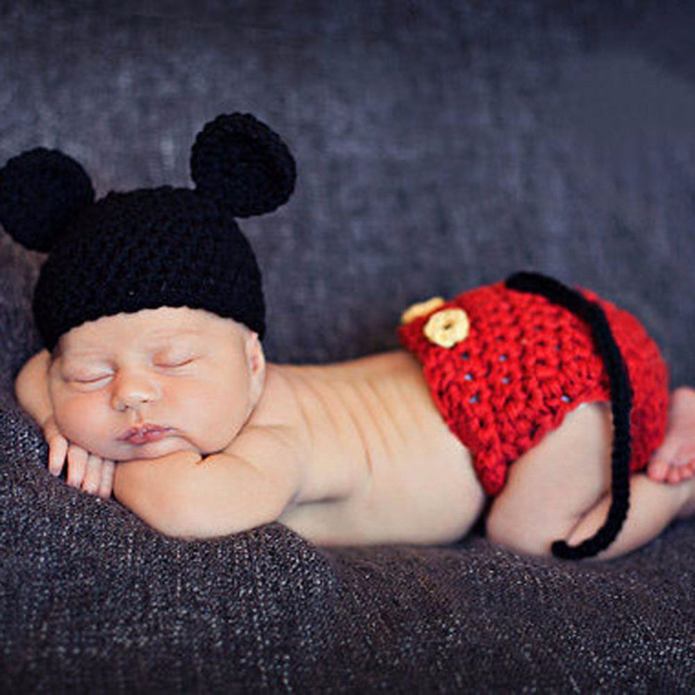 bd19b6d0be5547 Crochet Knit Mickey Mouse Newborn Photo Prop – Haute for Tots