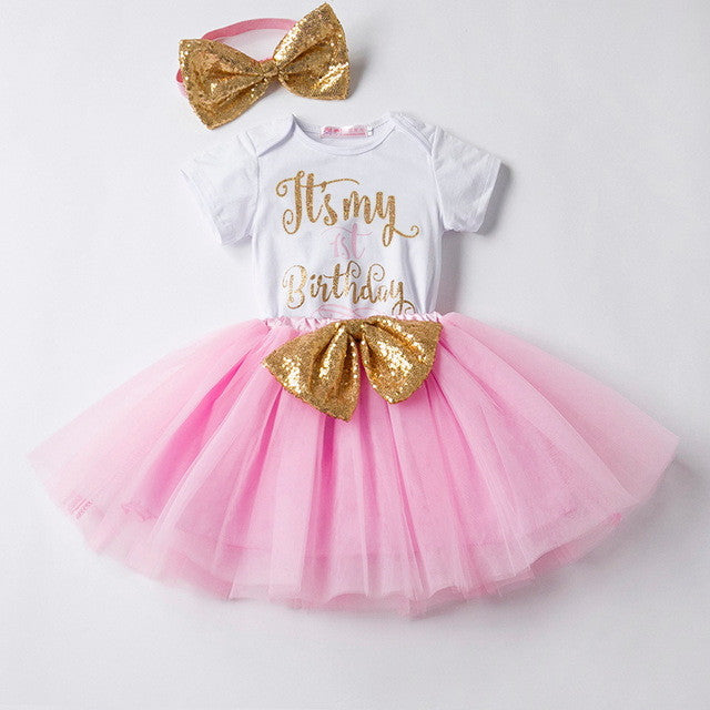 New Baby Girl First Birthday Sequin Bow Tutu Dresses- Many designs and colors