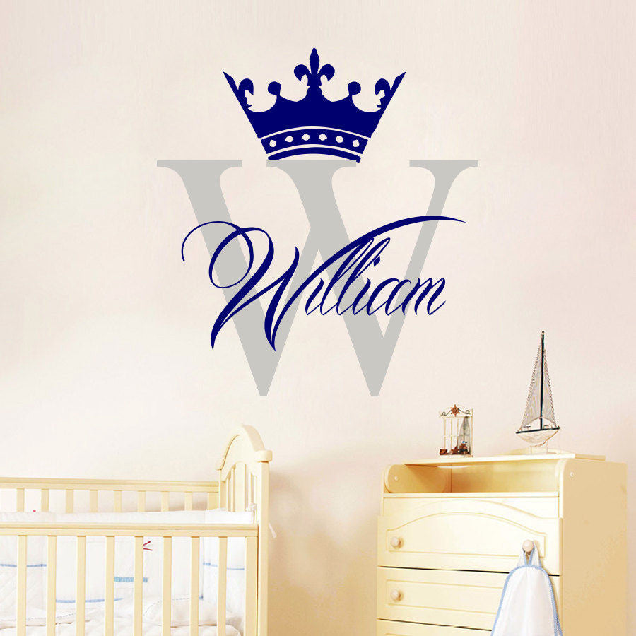 Personalized name crown boy wall decal