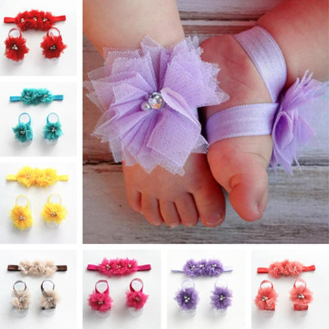 Newborn Lace Hair Band + Barefoot Sandals