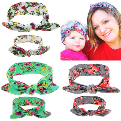 2Pcs/Set Mom and Me Boho Turban Headband Top Knotted