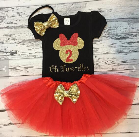 24f090d4 Personalized red black Minnie Mouse 1st birthday Tutu Dress Shirt with  Headband Outfit - Haute for Tots