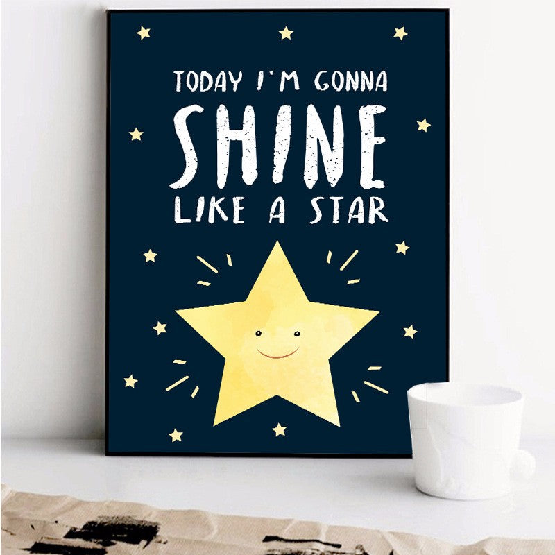 Black White Modern Nordic Kawaii Star Quotes on Canvas