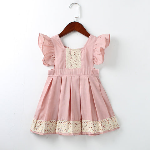 Girls Pink Lace Hem Ruffles Dress
