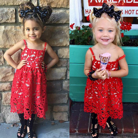 Girls  Red Lace Hollow Out Sundress