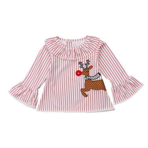 Girls christmas Rudolph Blouse