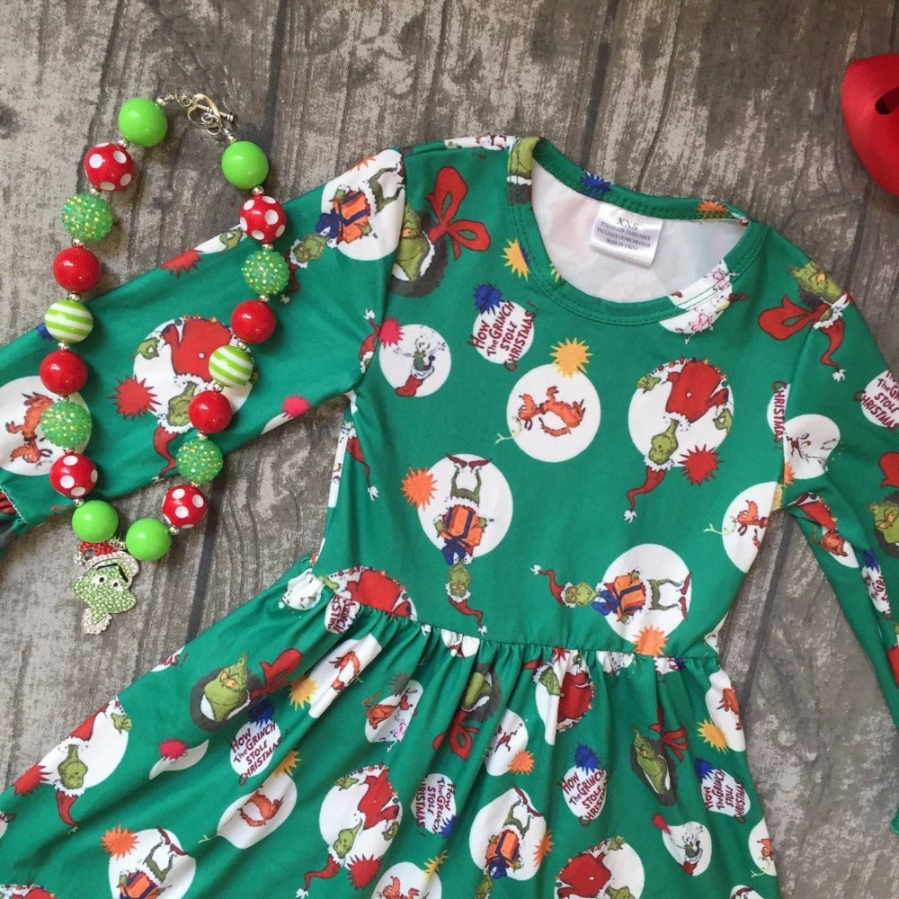 How The Grinch Stole Christmas Ruffle Dress Haute For Tots