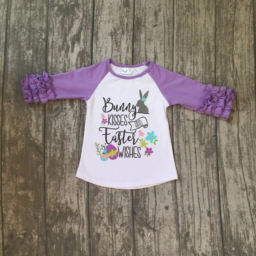 dcad278cb Easter baby girls print bunny kisses wishes Raglan – Haute for Tots