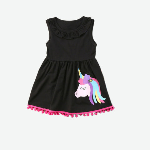 I believe Girls Unicorn Dress Black