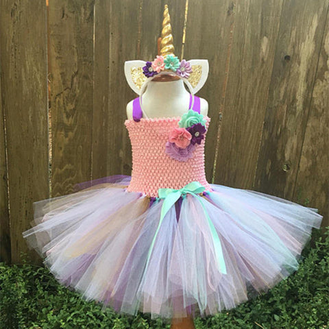 Girls Tutu Rainbow Princess Unicorn Dress With Headband