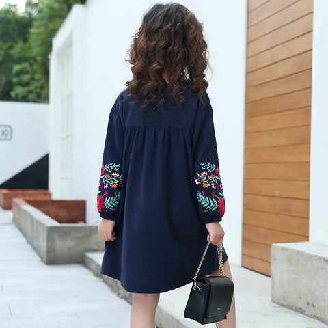 Girls Sui Embroidered Long Sleeves Dress