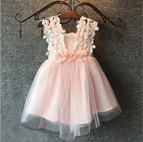 Girls  sleeveless Floral Lace Tutu Dress 3 colors