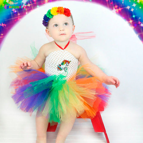 Rainbow Unicorn Tutu Dress with Flower Headband Birthday dress
