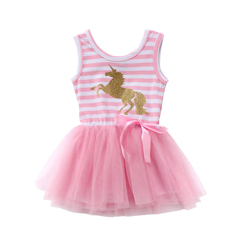 Girls summer Gold and Pink Unicorn dress with Bow