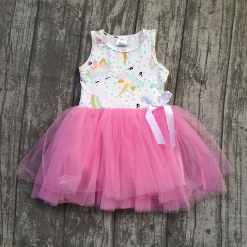 Girls boutique pink unicorn bow tutu dress