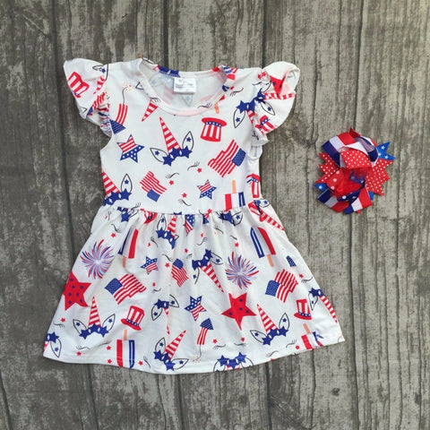 Unicorn 4th of July Summer Dress with matching bow