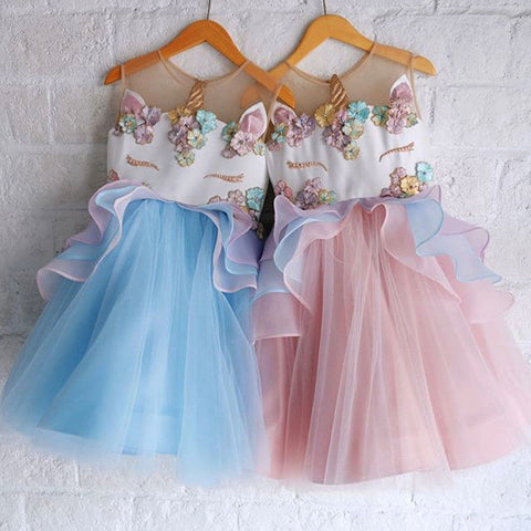 Girls  Chiffon Unicorn Princess Tutu Birthday Dress