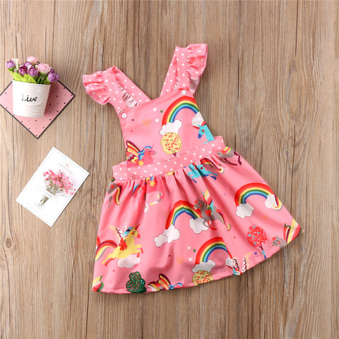Girls Rainbows and Unicorns  Printed Dress