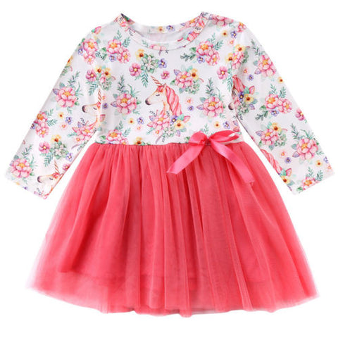 Cute Baby Kids Girl Unicorn Long Sleeve Tutu Dress