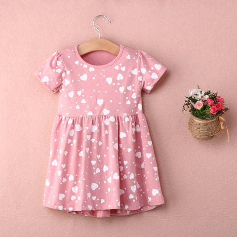 Cute Girls Love Heart Print Dress