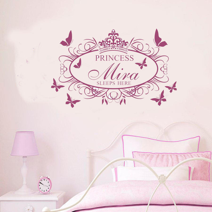 Personalized crown flower wall Decal