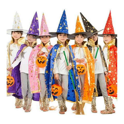 Kids Halloween Witch/ Wizard Cloak with Hat