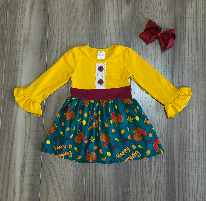 Thanksgiving turkey print dress
