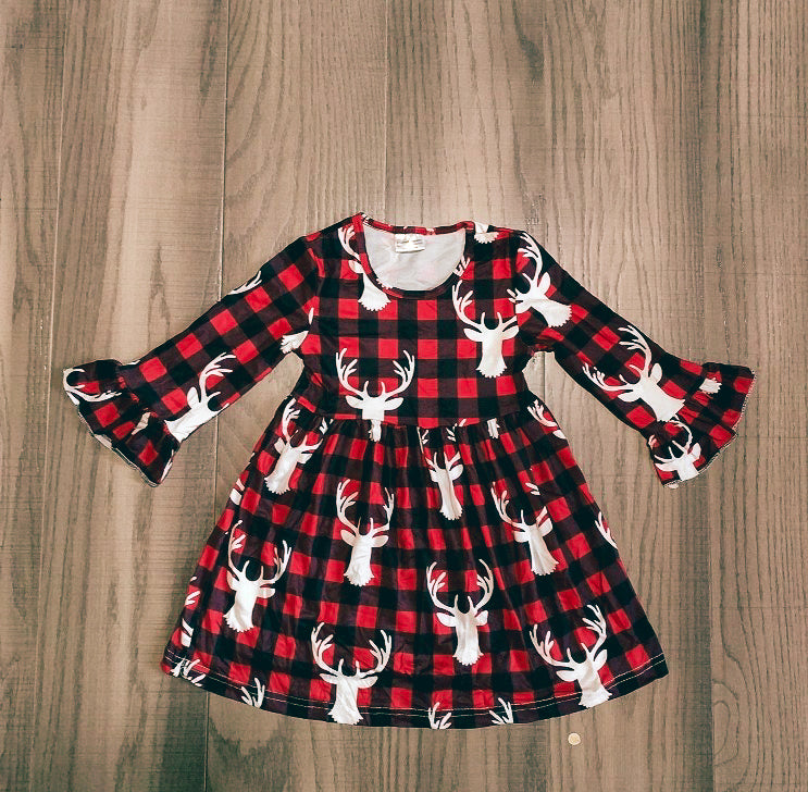 Christmas Plaid deer dress
