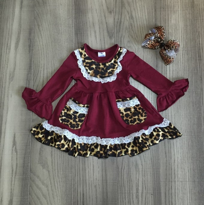 Leopard lace ruffle dress